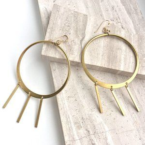 BIG Brass Hoop Earrings w/ 3 bar dangles